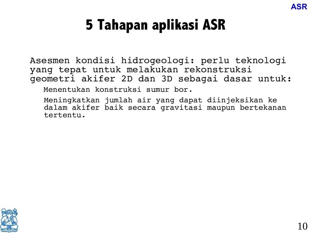 5 Tahapan aplikasi ASR • Asesmen kondisi hidrog...