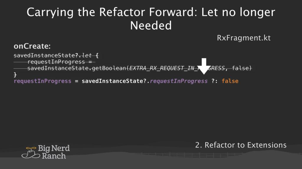 Carrying the Refactor Forward: Let no longer Ne...
