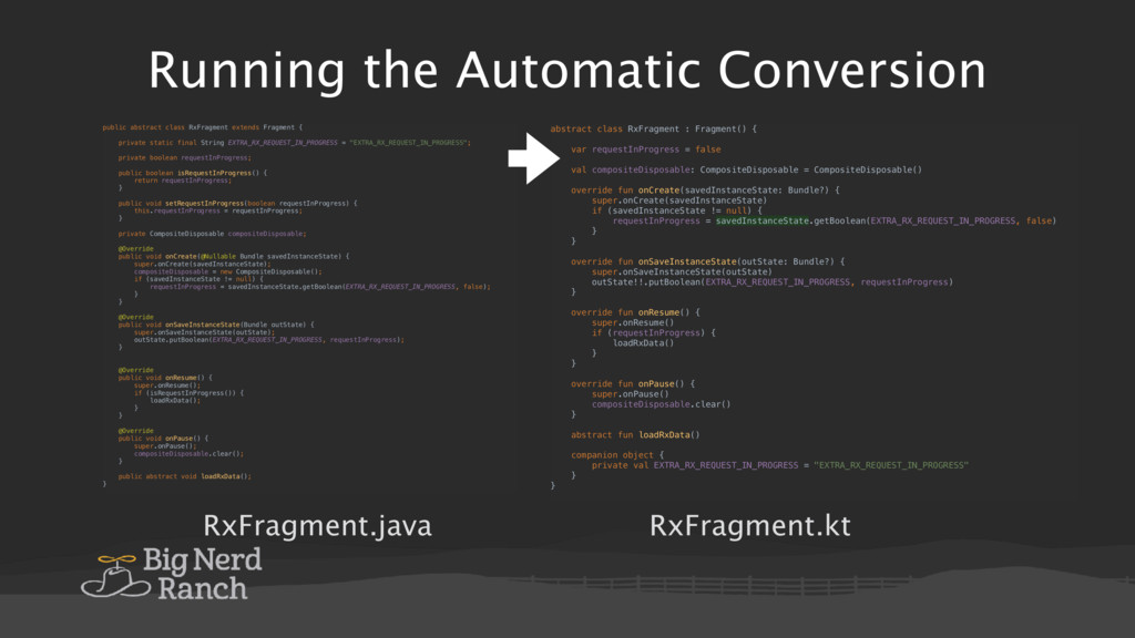 Running the Automatic Conversion RxFragment.jav...