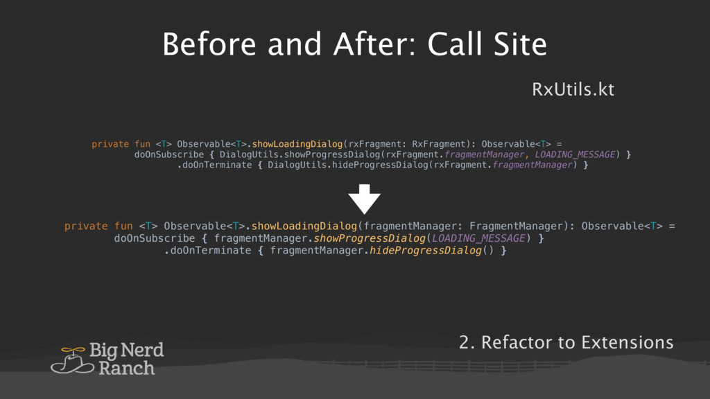 Before and After: Call Site RxUtils.kt private ...