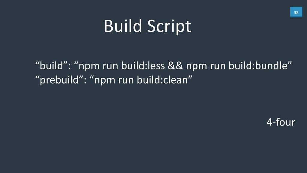 "32 Build Script ""build"": ""npm run b..."