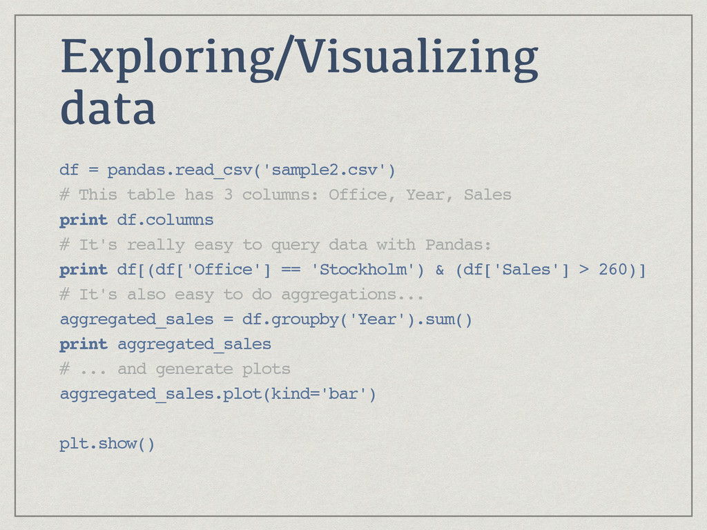 Exploring/Visualizing data df = pandas.read_csv...