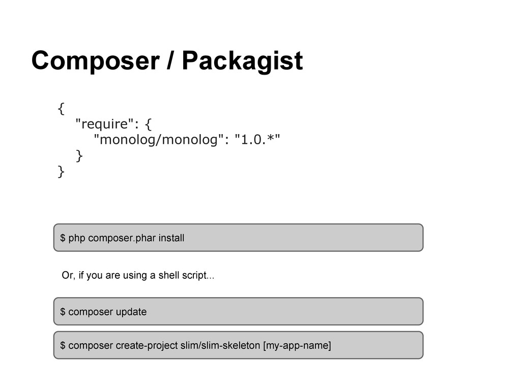 """Composer / Packagist { """"require"""": { """"monolog/mo..."""
