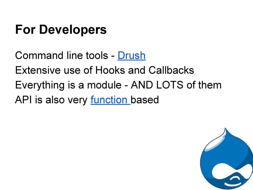For Developers Command line tools - Drush Exten...