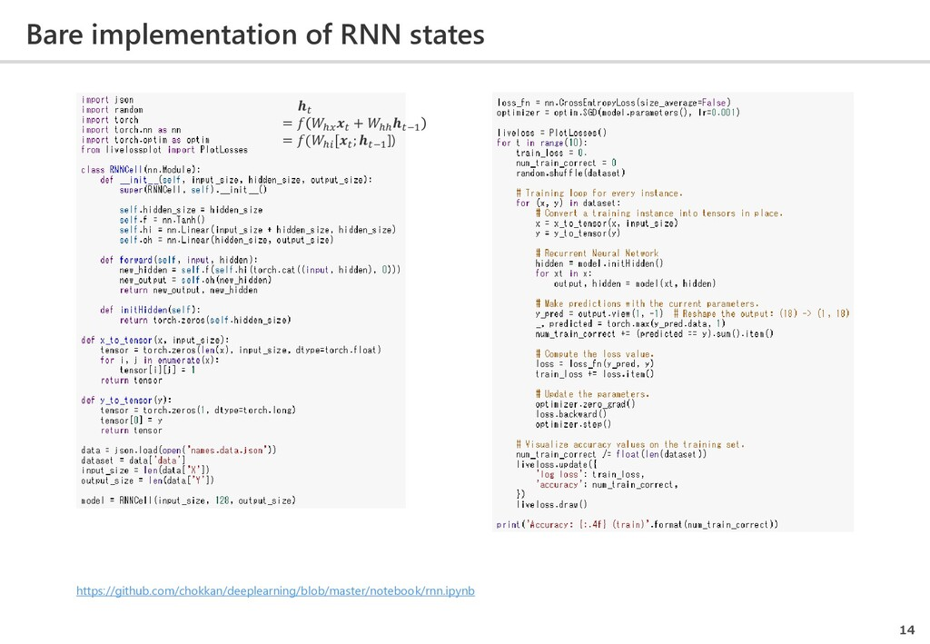 Bare implementation of RNN states 14  =  ℎ  + ℎ...