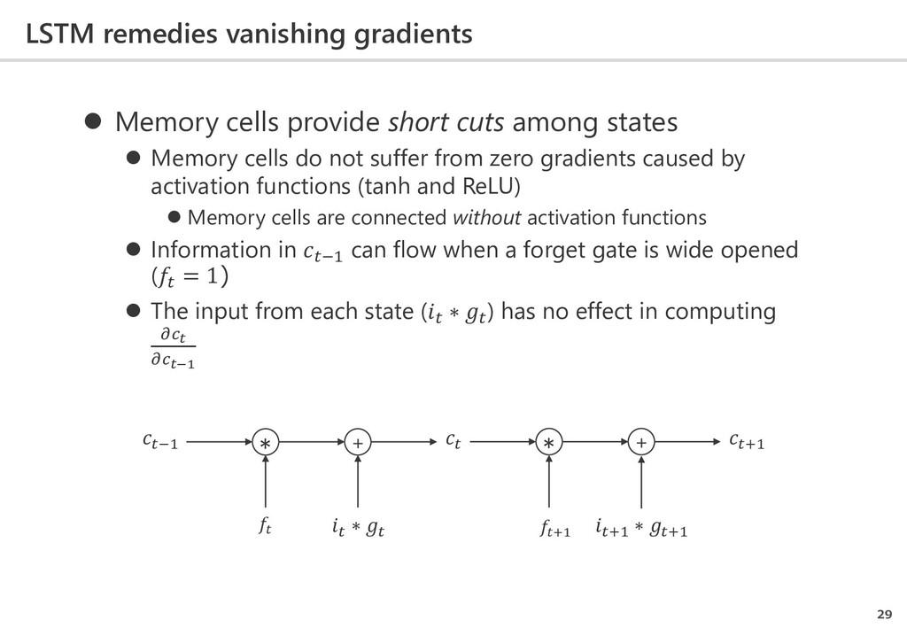 LSTM remedies vanishing gradients 29  Memory c...
