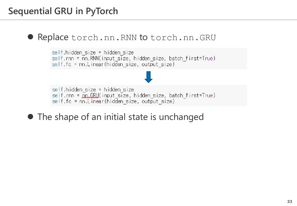 Sequential GRU in PyTorch 33  Replace torch.nn...