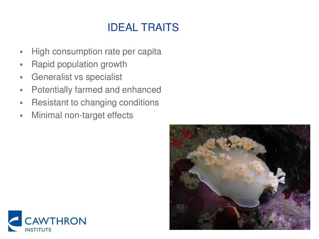 IDEAL TRAITS  High consumption rate per capita...