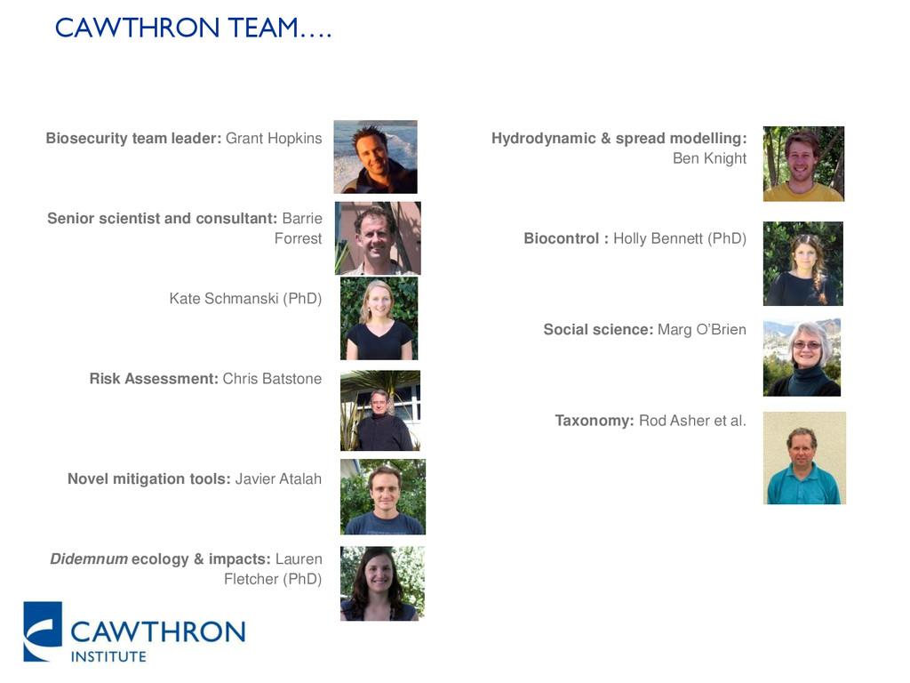 CAWTHRON TEAM…. Biosecurity team leader: Grant ...