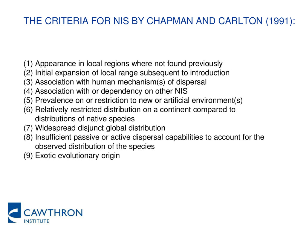 THE CRITERIA FOR NIS BY CHAPMAN AND CARLTON (19...