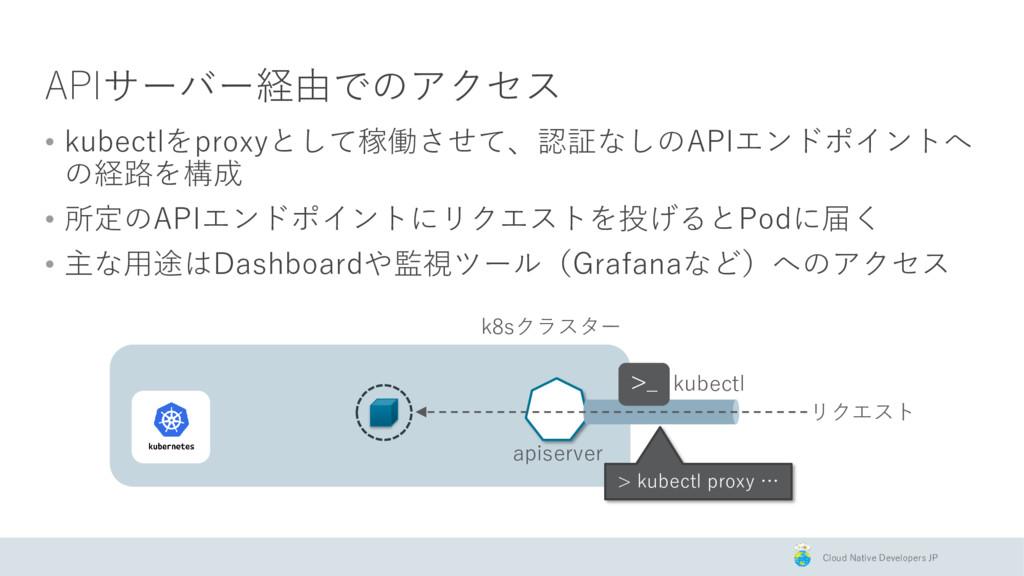 Cloud Native Developers JP APIサーバー経由でのアクセス • ku...