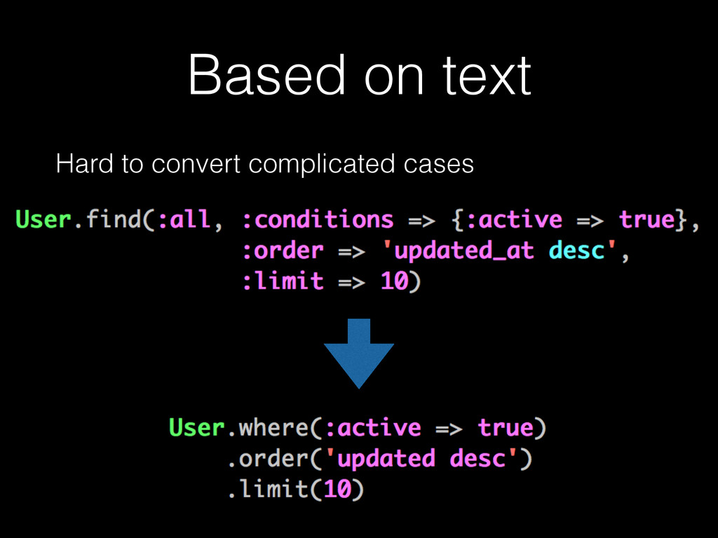 Based on text Hard to convert complicated cases...