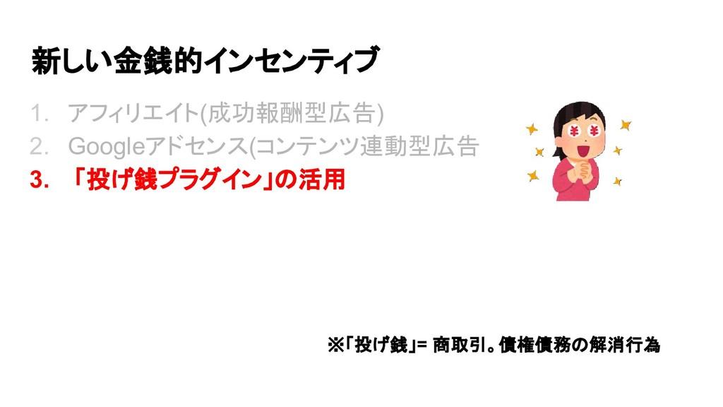 新しい金銭的インセンティブ 1. アフィリエイト(成功報酬型広告) 2. Googleアドセン...