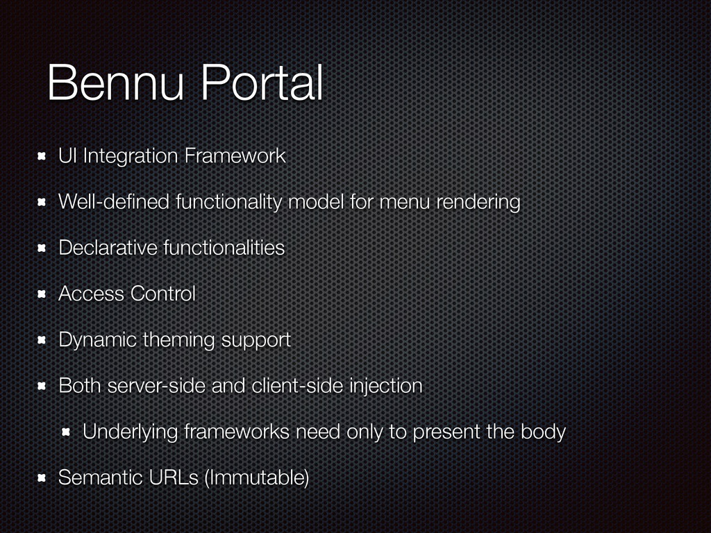 Bennu Portal UI Integration Framework Well-defin...