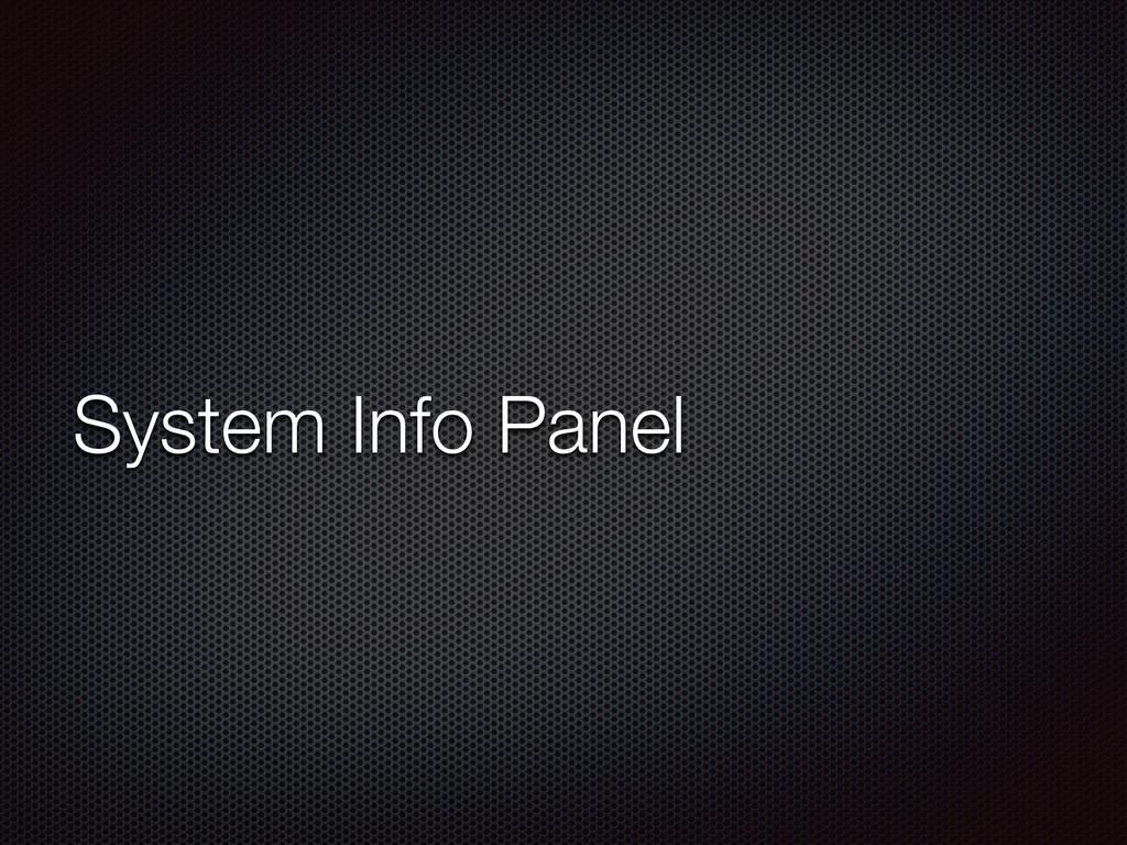 System Info Panel