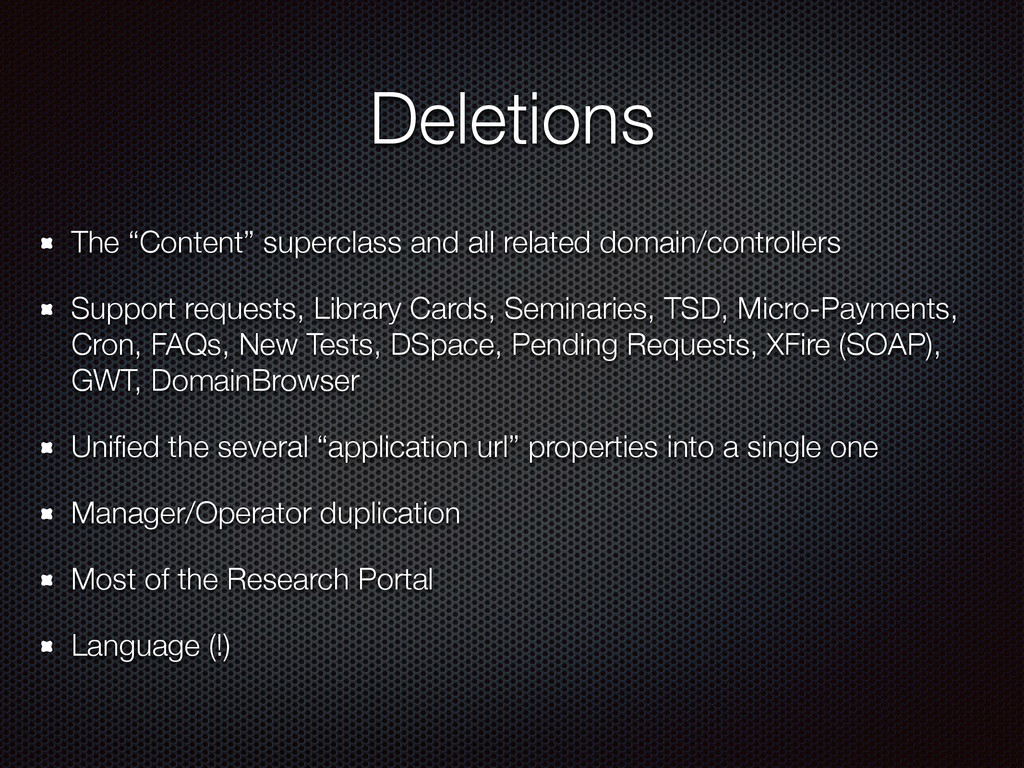"""Deletions The """"Content"""" superclass and all rela..."""