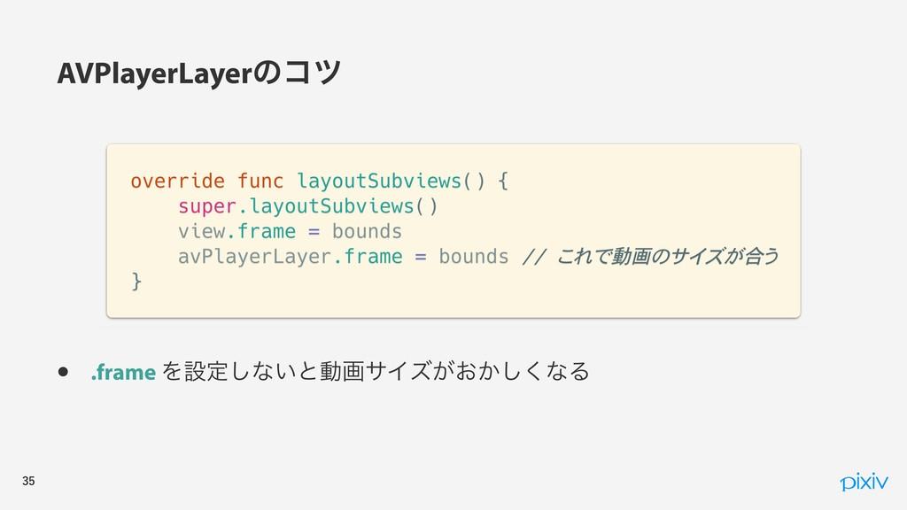 • .frame Λઃఆ͠ͳ͍ͱಈըαΠζ͕͓͔͘͠ͳΔ AVPlayerLayer...