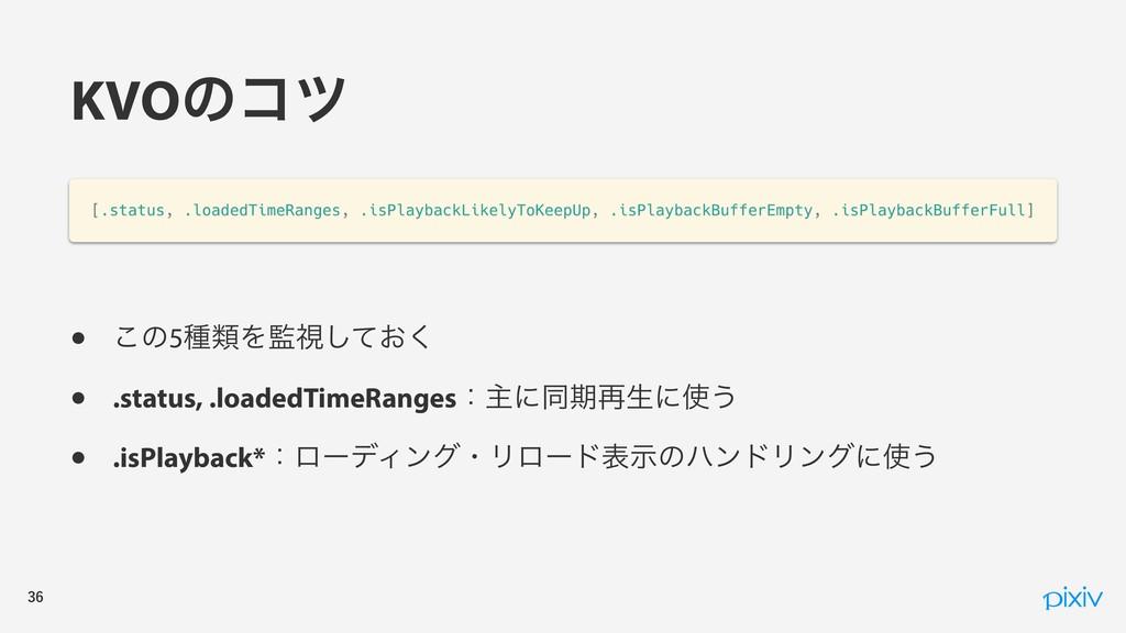 KVOͷίπ • ͜ͷ5छྨΛࢹ͓ͯ͘͠ • .status, .loadedTi...