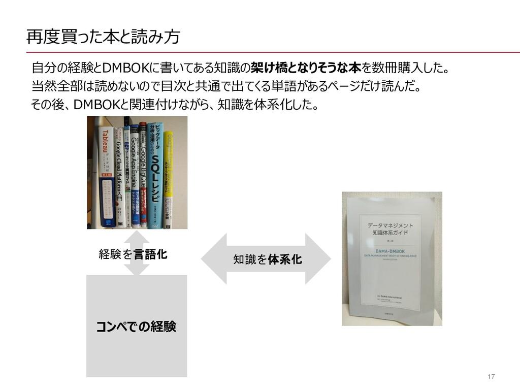17 再度買った本と読み方 自分の経験とDMBOKに書いてある知識の架け橋となりそうな本を数冊...