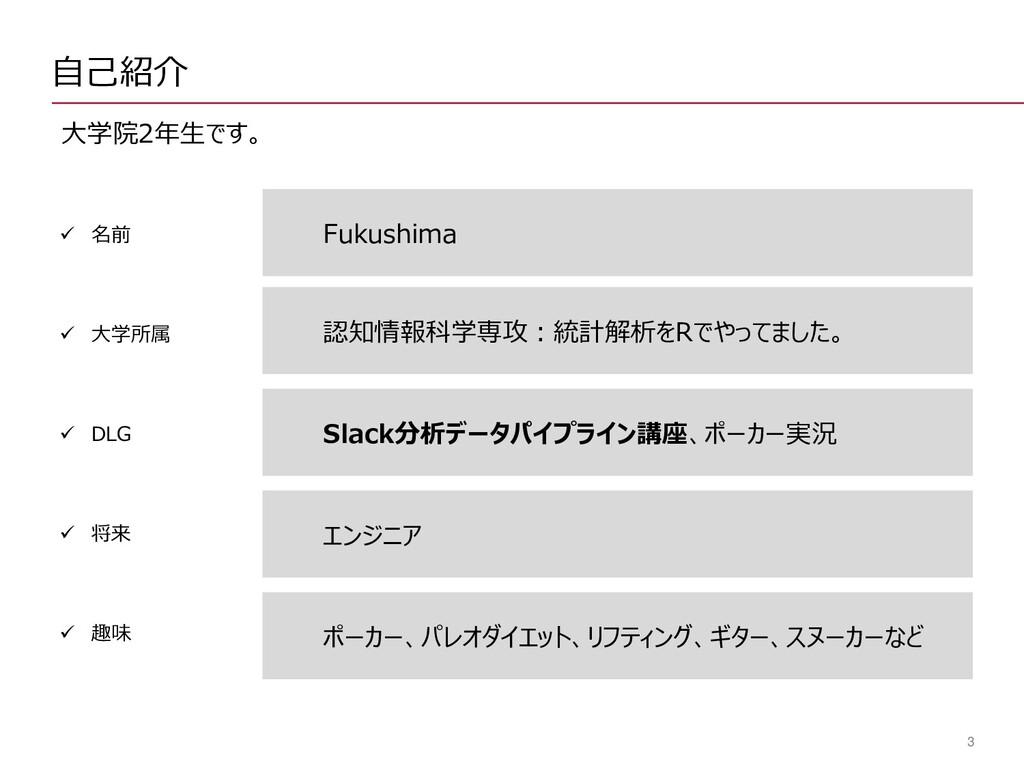 3 自己紹介 大学院2年生です。 Fukushima ✓ 名前 ✓ 大学所属 ✓ DLG ✓ ...