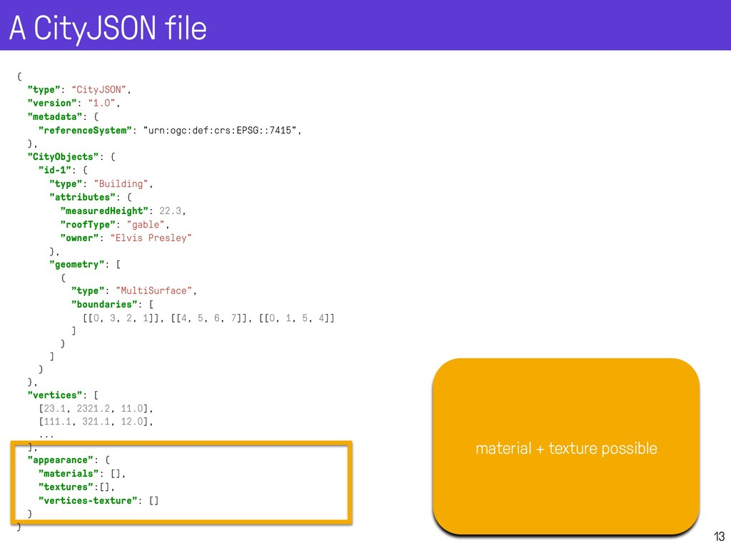 A CityJSON file 13 material + texture possible ...
