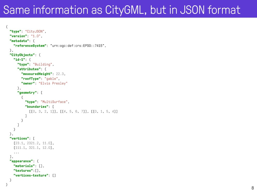Same information as CityGML, but in JSON format...