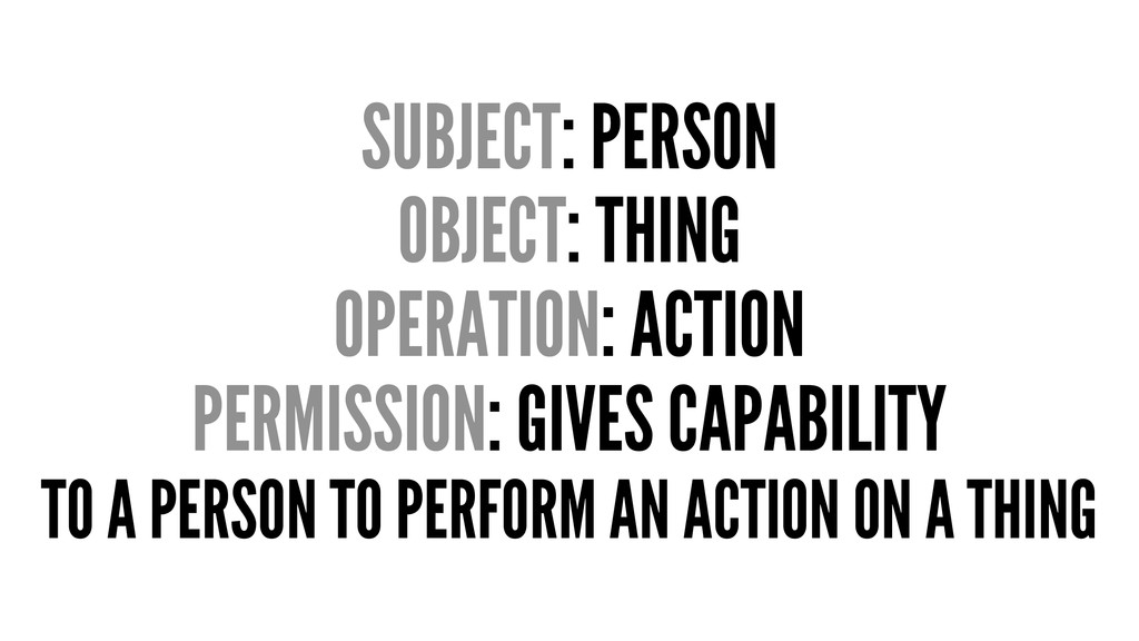 SUBJECT: PERSON OBJECT: THING OPERATION: ACTION...