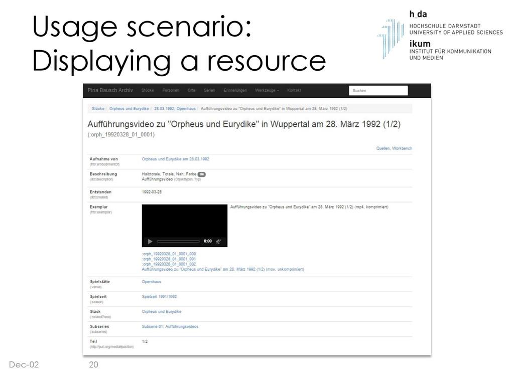 Usage scenario: Displaying a resource Dec-02 20
