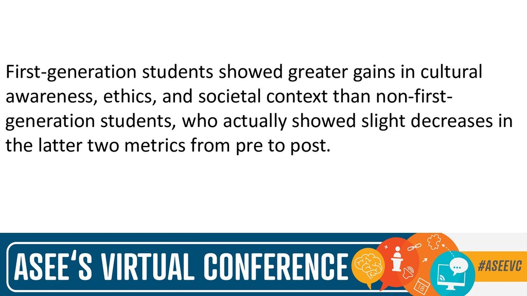 First-generation students showed greater gains ...