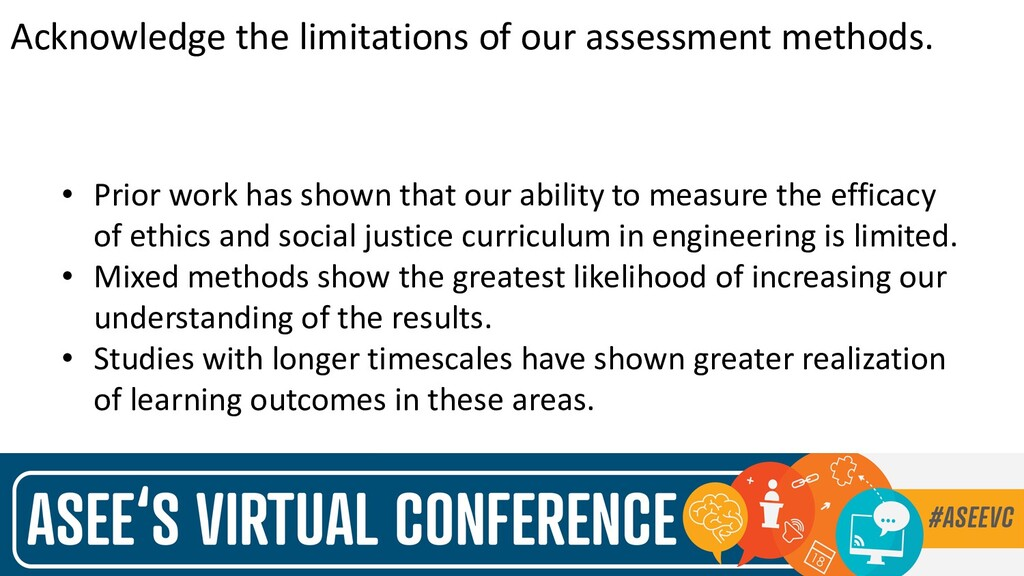 Acknowledge the limitations of our assessment m...
