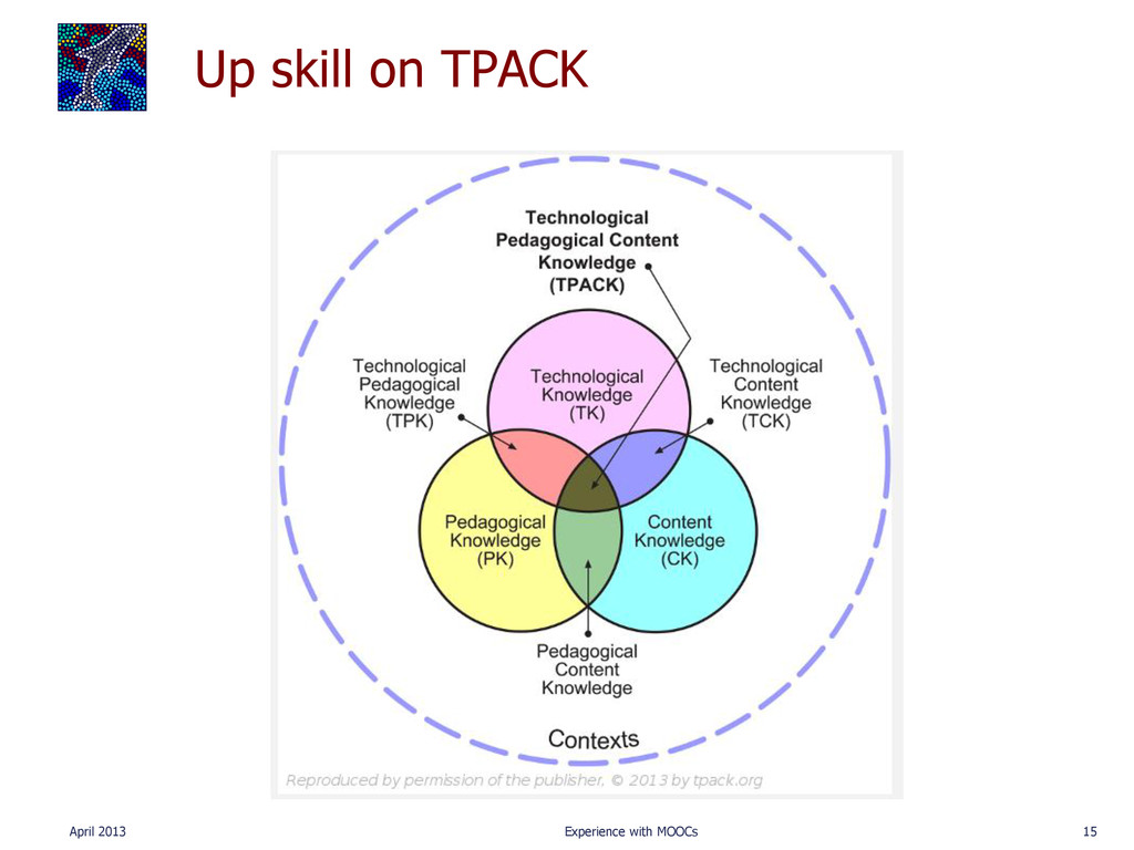 Up skill on TPACK April 2013 Experience with MO...