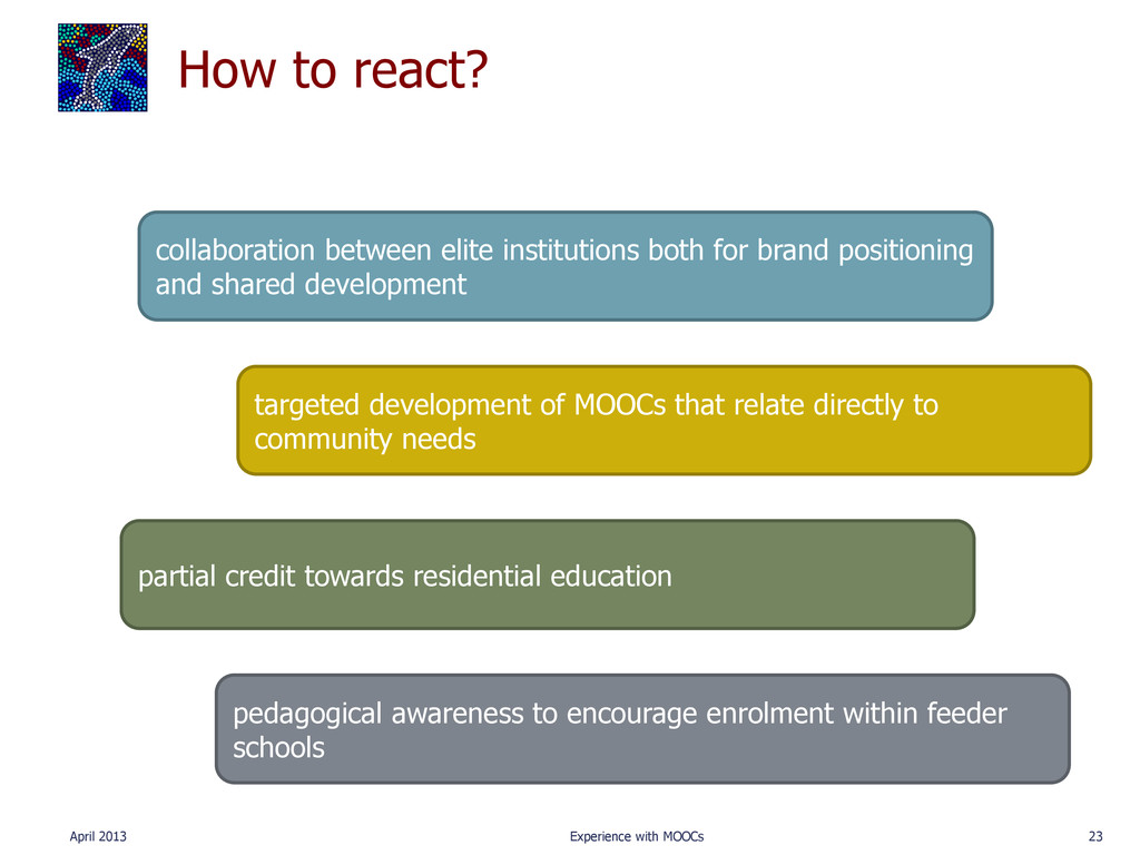 How to react? April 2013 Experience with MOOCs ...