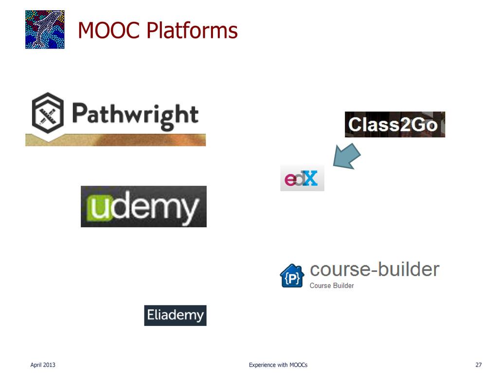 MOOC Platforms April 2013 Experience with MOOCs...