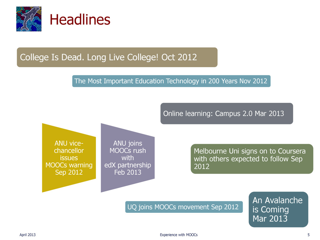 Headlines April 2013 Experience with MOOCs 5 Co...