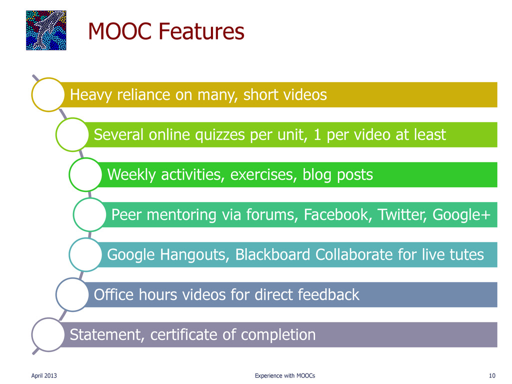 MOOC Features Heavy reliance on many, short vid...
