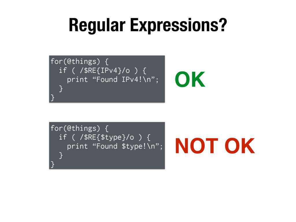 Regular Expressions? for(@things) { if ( /$RE{I...