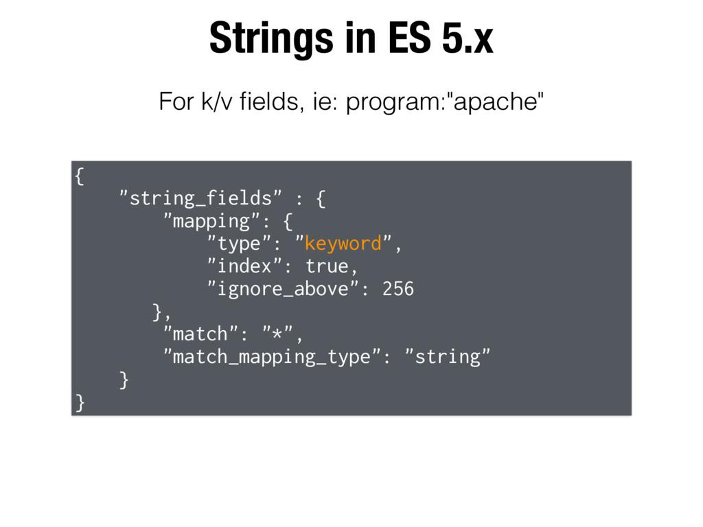 "Strings in ES 5.x { ""string_fields"" : { ""mappin..."