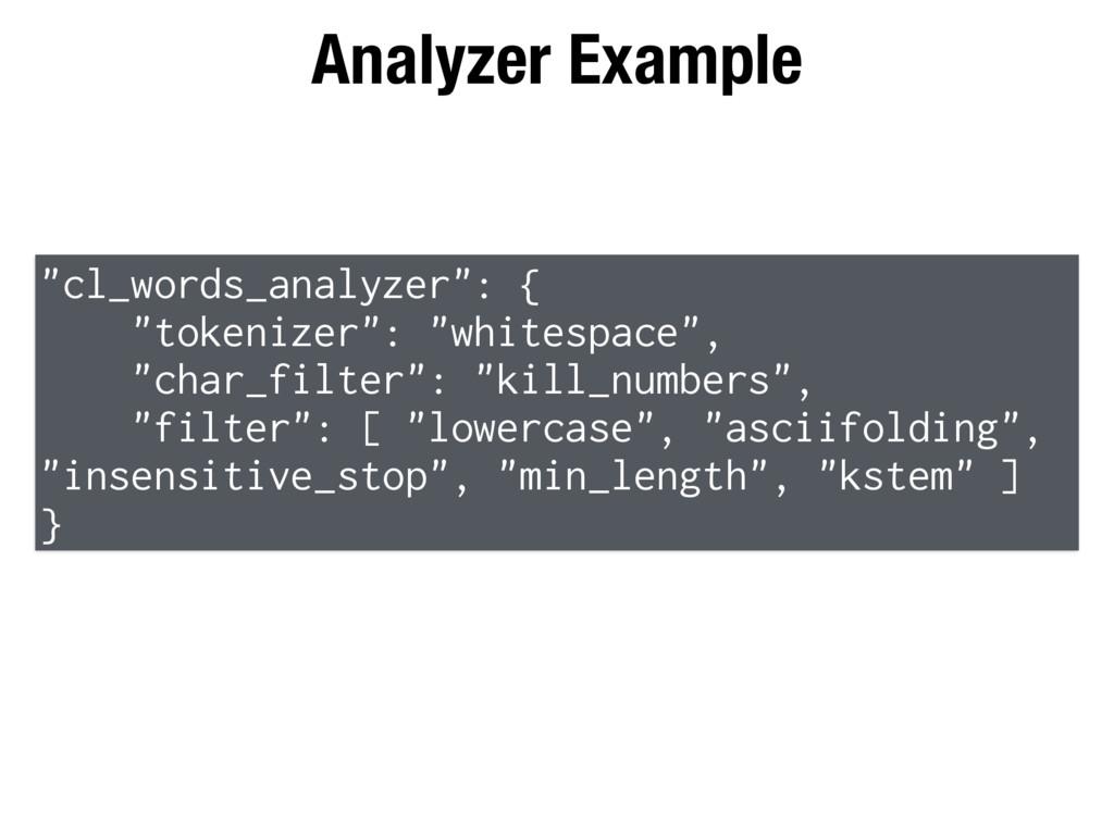 """Analyzer Example """"cl_words_analyzer"""": { """"tokeni..."""