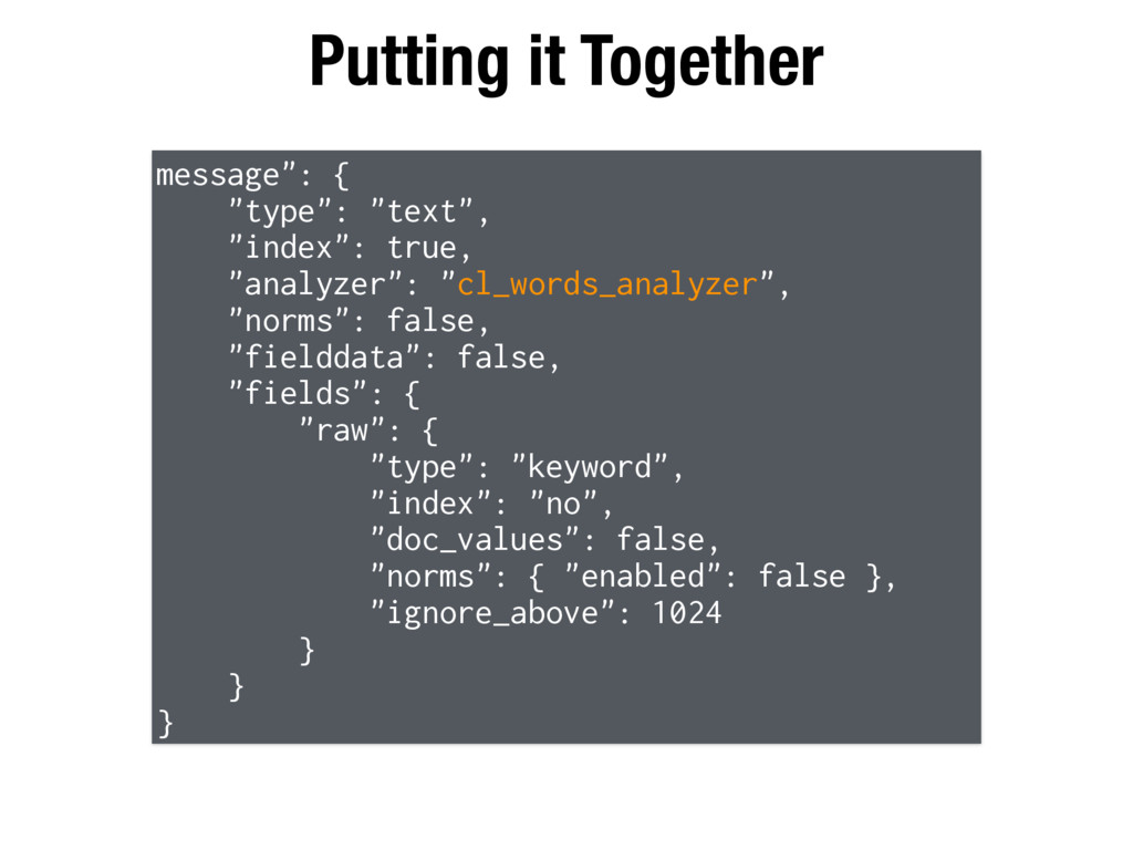 "Putting it Together message"": { ""type"": ""text"",..."