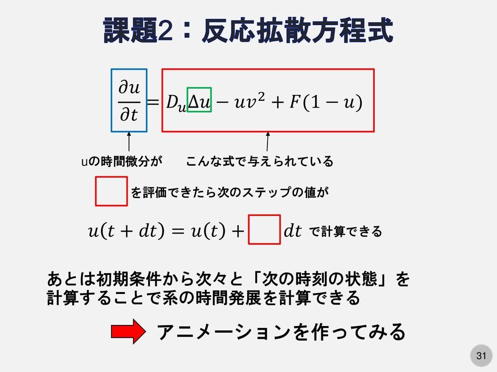 31   =  ∆ − 2 + (1 − ) uの時間微分が こんな式で与えられている を評価...