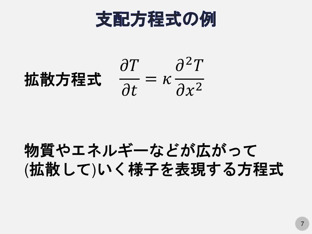 7 7   =  2 2 拡散方程式 物質やエネルギーなどが広がって (拡散して)いく様子を表...