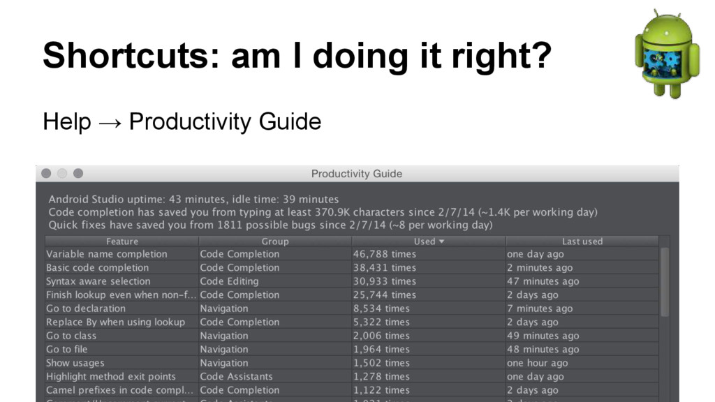 Shortcuts: am I doing it right? Help → Producti...