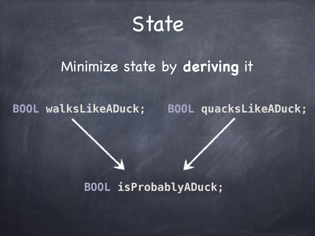 Minimize state by deriving it State BOOL walksL...