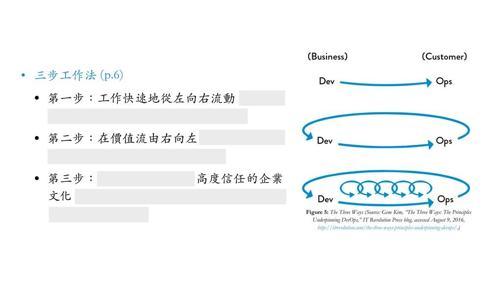 • 三步⼯作法 (p.6) • 第⼀步:⼯作快速地從左向右流動,從開發 平順過渡到營運,最後交...