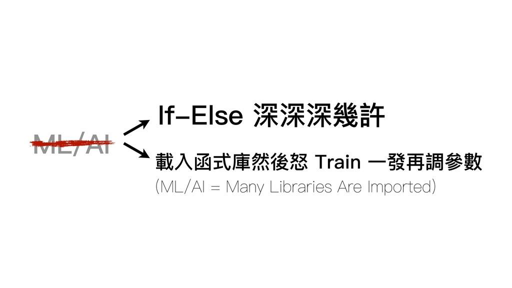 ML/AI If-Else 深深深幾許 載入函式庫然後怒 Train ⼀一發再調參參數 (ML...