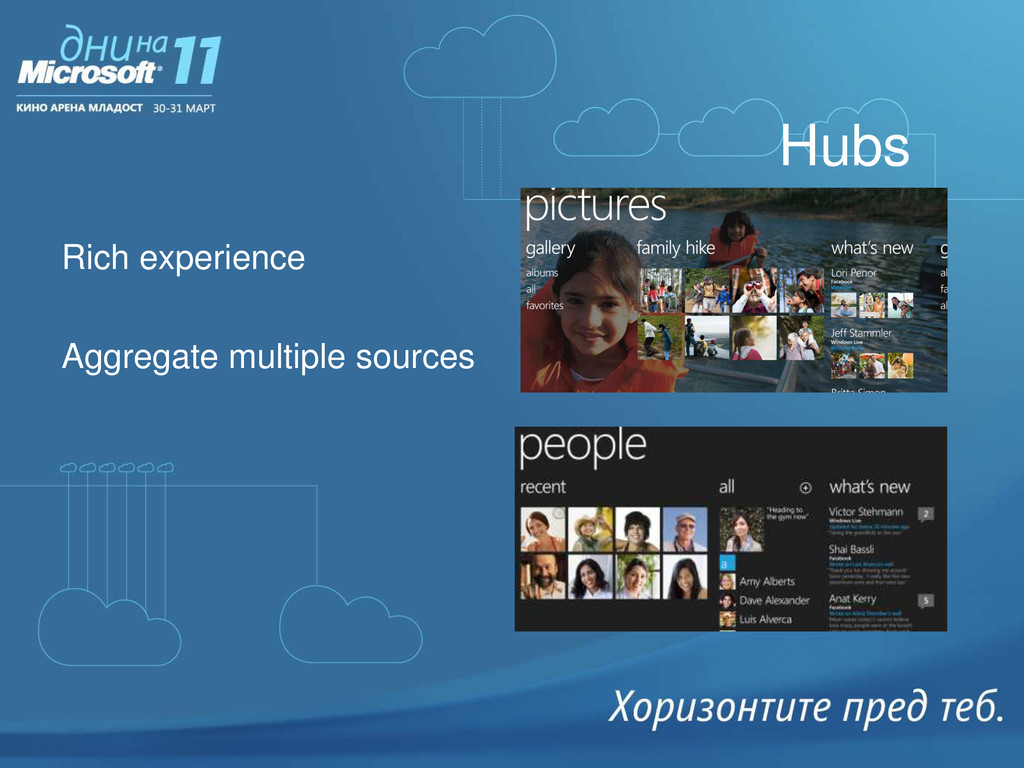 Hubs Rich experience Aggregate multiple sources