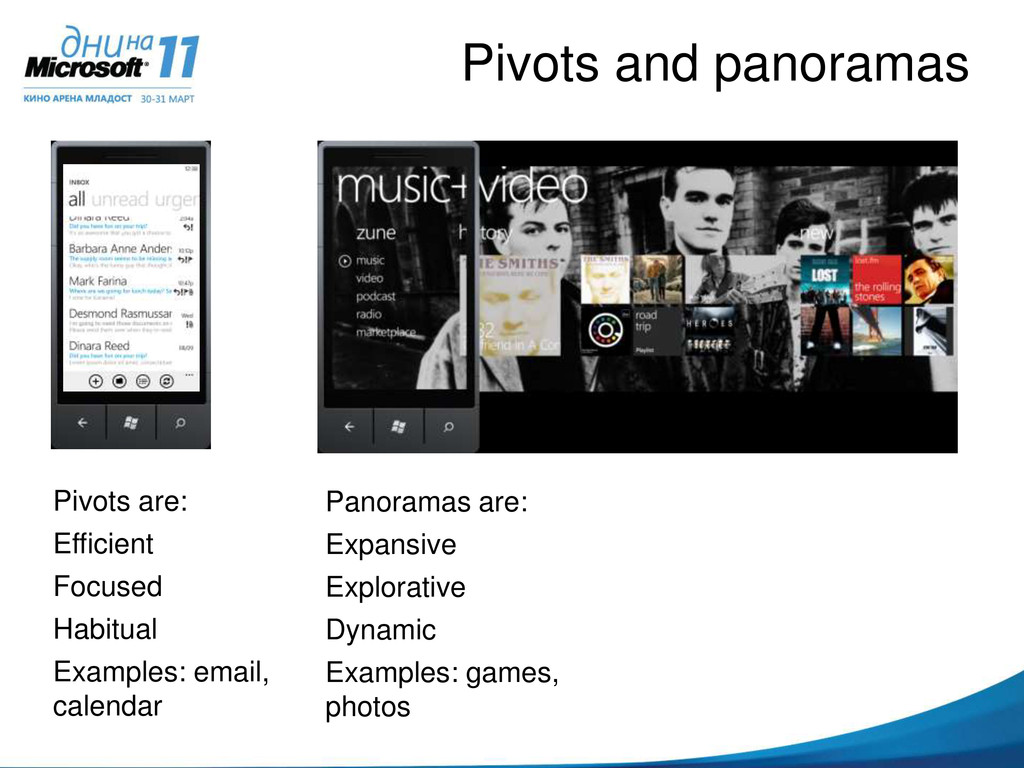 Pivots and panoramas Panoramas are: Expansive E...