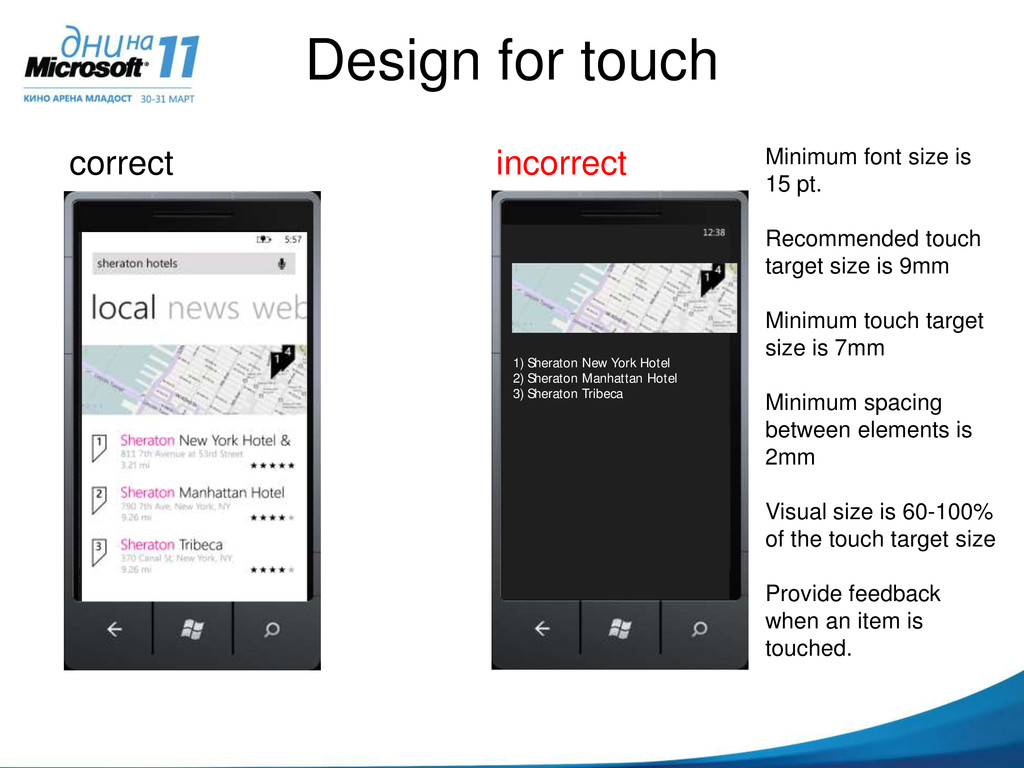 Design for touch correct incorrect Login here M...