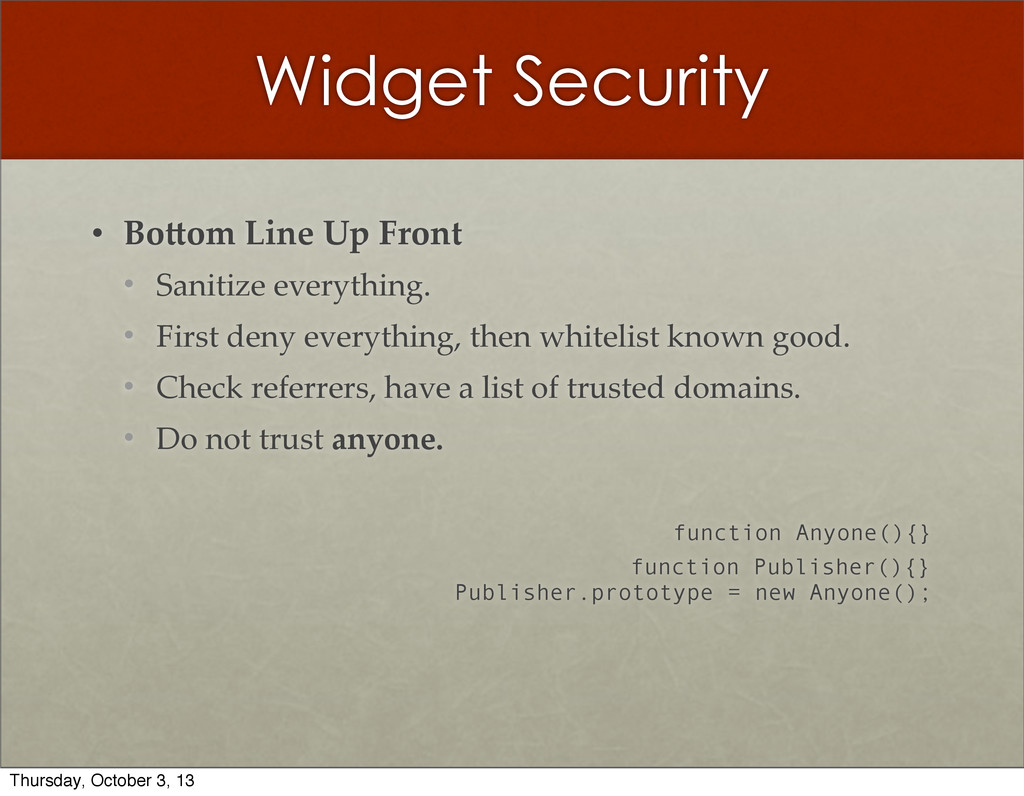 Widget Security • Bo?om  Line  Up  Front • Sani...